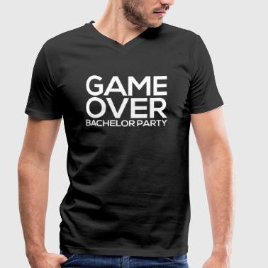 GAME OVER BACHELOR Party JGA Gifts Party Shirt - Men's Organic V-Neck T-Shirt by Stanley & Stella