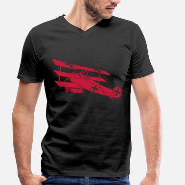 Red Baron Fokker Airplane Flugzeug Roter Baron Red World War - T-shirt bio col V Stanley & Stella Homme