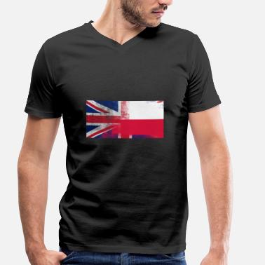 Polish Flag British Polish Half Poland Half UK Flag - Men's Organic V-Neck T-Shirt by Stanley & Stella