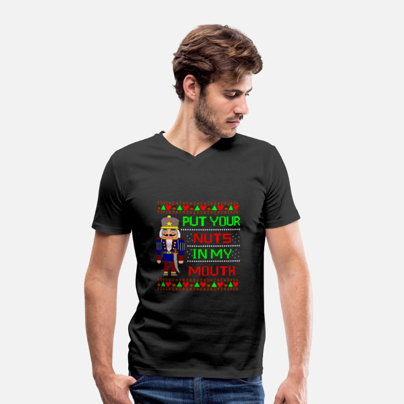 Christmas T-Shirts - The Nutcracker Ugly Christmas Sweater - Mannen V-hals bio T-shirt zwart
