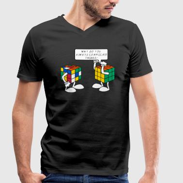 Rubik's Cube Humour Complicate Things - Men's Organic V-Neck T-Shirt by Stanley & Stella