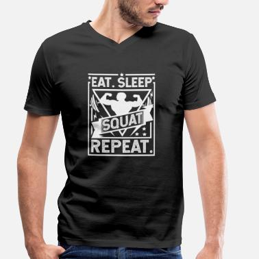 Squat Divertente Eat Sleep Squat Repeat - Squat - T-shirt ecologica da uomo con scollo a V di Stanley & Stella