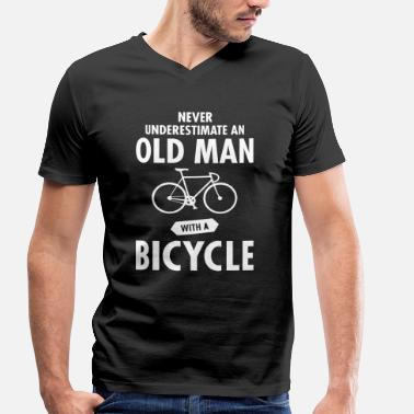 Cycling Slogan Never Underestimate An Old Man With A Bicycle - Men's Organic V-Neck T-Shirt by Stanley & Stella