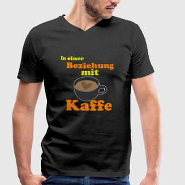 In a relationship with coffee | Drinking coffee - Men's Organic V-Neck T-Shirt by Stanley & Stella