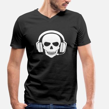 Gamer Skull Gamer Skull with Headset (White) - Men's Organic V-Neck T-Shirt by Stanley & Stella