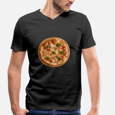 Margherita pizza margherita pizzeria food food - Men's Organic V-Neck T-Shirt by Stanley & Stella