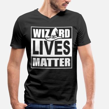 Dark Matter Wizard Lives Matter Retro Halloween Sorcerer Dark - Men's Organic V-Neck T-Shirt by Stanley & Stella