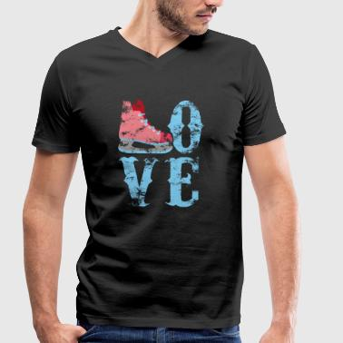 Love Ice Skating - Ice Rink Ice Skating Hockey - Men's Organic V-Neck T-Shirt by Stanley & Stella