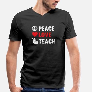 Hodetelefoner Peace Love Teach - Men's Organic V-Neck T-Shirt by Stanley & Stella