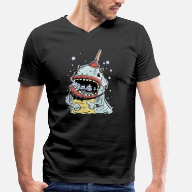 Cool Monster with plunger and Earring - Men's Organic V-Neck T-Shirt by Stanley & Stella