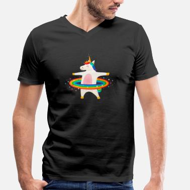 Hoop Unicorn Hooping - Hula Hoop - Men's Organic V-Neck T-Shirt