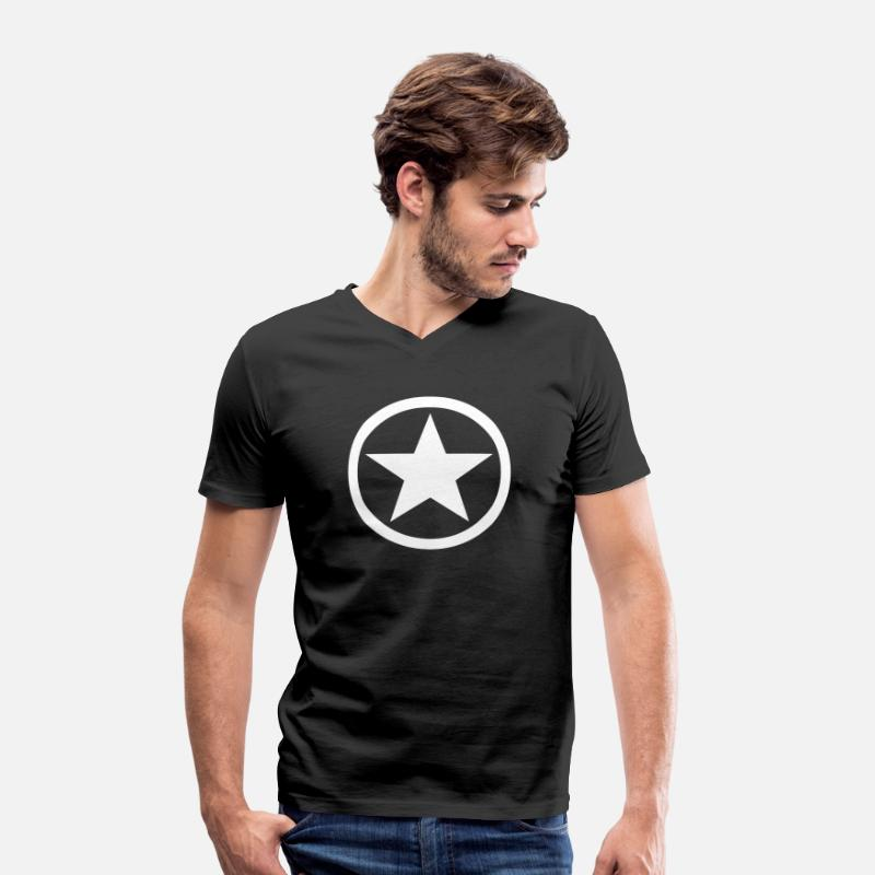 Star T-Shirts - Star Inside Circle - Men's V-Neck T-Shirt black