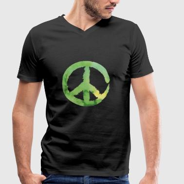 Peace sign - watercolor green - Men's Organic V-Neck T-Shirt by Stanley & Stella