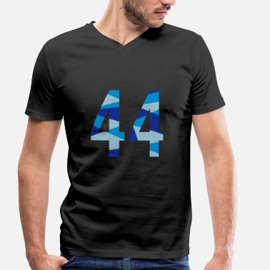 Number 44s 44 - number in polygon design - Men's Organic V-Neck T-Shirt by Stanley & Stella