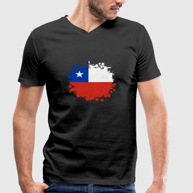 Valparaiso Chile blob / gift South America flag - Men's Organic V-Neck T-Shirt by Stanley & Stella