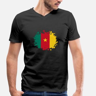 Douala Cameroon blob / gift Flag Cameroon - Men's Organic V-Neck T-Shirt by Stanley & Stella
