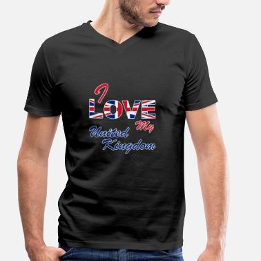 Uk Patriot I LOVE MY UNITED KINGDOM | UK - Men's Organic V-Neck T-Shirt by Stanley & Stella