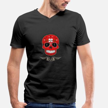 Biker Gang skull red skull biker motorcycle dead symbol gang - Men's Organic V-Neck T-Shirt by Stanley & Stella