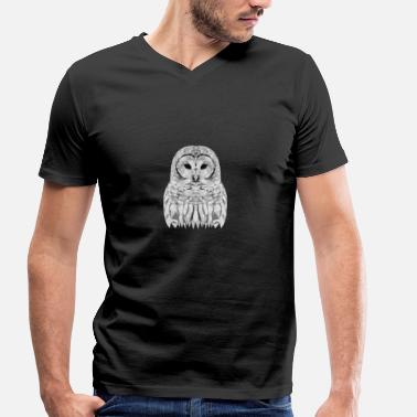 Ornithologie SNOWEEULE OWL GIFT ANIMAL NATURE FORET BLANC - T-shirt bio col V Stanley & Stella Homme