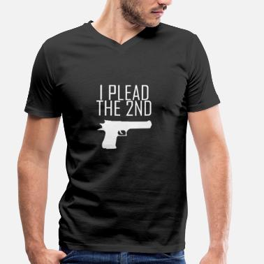 Nra I Plead the 2nd Gun Pistol NRA Gun Shoot - Men's Organic V-Neck T-Shirt by Stanley & Stella