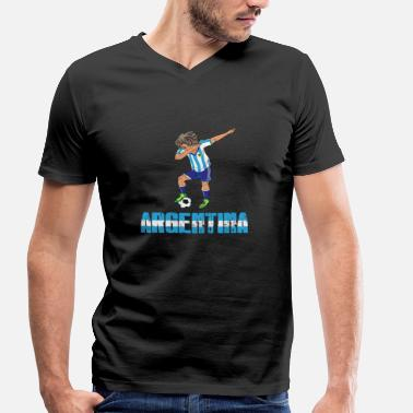 Argentina-football-dd Argentina Argentina Footballer Dab Weltmeis - Men's Organic V-Neck T-Shirt by Stanley & Stella