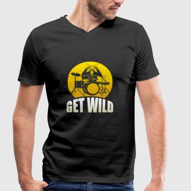 Get wild monkey on the drums gift - Men's Organic V-Neck T-Shirt by Stanley & Stella