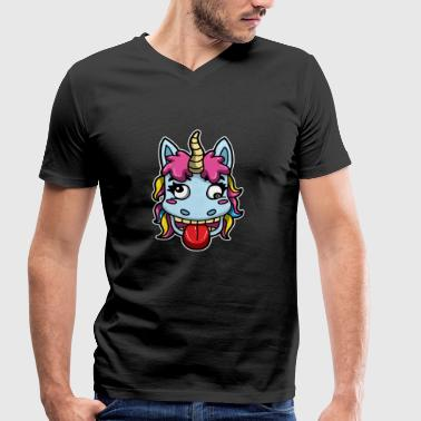 Zombies Alcohol Zombie Unicorn Alcohol Beer Party Gift Cartoon - Men's Organic V-Neck T-Shirt by Stanley & Stella