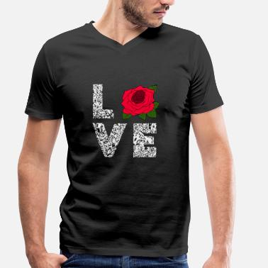 Floristry Roses Love Blossom Flowers Floristry Gifts - Men's Organic V-Neck T-Shirt by Stanley & Stella