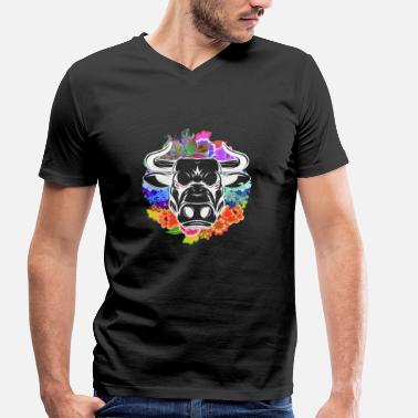 Bull Head Bull bull head flowers - Men's Organic V-Neck T-Shirt by Stanley & Stella