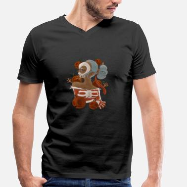 Dead Girls Sexy Halloween & Day of the Dead pumpkin girl - Men's Organic V-Neck T-Shirt by Stanley & Stella
