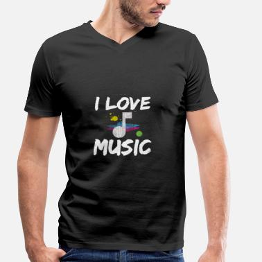 Music Chart I Love Music I Music Musician Note Sheet Music Charts - Men's Organic V-Neck T-Shirt by Stanley & Stella