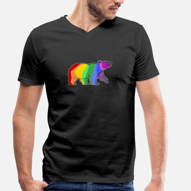 Gays Anime LGBT Papa Bear Animals Rainbow Flag Gay Colorful - Men's Organic V-Neck T-Shirt by Stanley & Stella