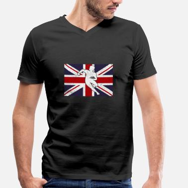 England Rugby Flag Rugby player gift Great Britain England - Men's Organic V-Neck T-Shirt by Stanley & Stella