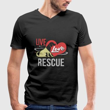 Live Love Rescue - Dog Lover Hundebesitzer Hunde - Men's Organic V-Neck T-Shirt by Stanley & Stella