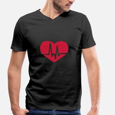 Pulse Heart Rate Heart rate pulse ECG - Men's Organic V-Neck T-Shirt by Stanley & Stella