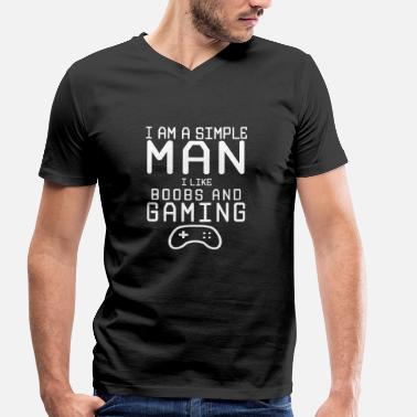 Ron Swanson i am a simple man i like boobs and gaming - Männer Bio T-Shirt mit V-Ausschnitt