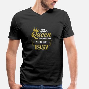 Since 1957 The Queen Reigning Since 1957 - Men's Organic V-Neck T-Shirt by Stanley & Stella