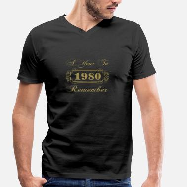 Year 1980 1980 A Year To Remember - Men's Organic V-Neck T-Shirt by Stanley & Stella
