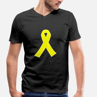 Yellow Ribbon Yellow ribbon WR symbol for solidarity - Men's Organic V-Neck T-Shirt by Stanley & Stella