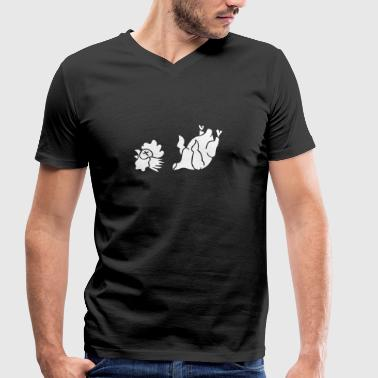 Hahn Cock Hähnchen Chicken Wings Broiler Cockfight - Men's Organic V-Neck T-Shirt by Stanley & Stella