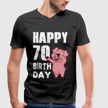 70 years - happy birthday - piggy - Men's Organic V-Neck T-Shirt by Stanley & Stella
