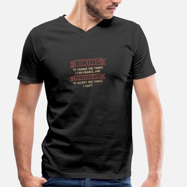 Gt Bicycles Mountainbiking + Chocolate> Change + Accept - Men's Organic V-Neck T-Shirt by Stanley & Stella