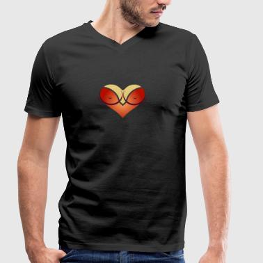 Heart-shaped Woman's Breasts With Deep Cleavage - Men's Organic V-Neck T-Shirt by Stanley & Stella
