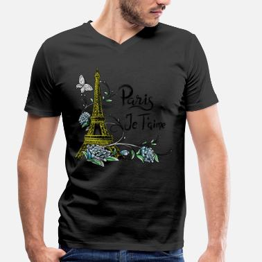 Je Taime Paris shirt Eiffel Tower Je taime Paris France - Men's Organic V-Neck T-Shirt by Stanley & Stella