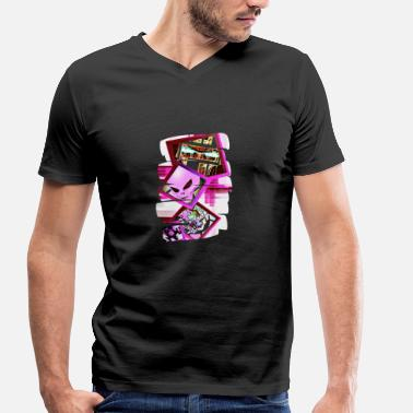 Pink Robot Future Pink - Men's Organic V-Neck T-Shirt by Stanley & Stella