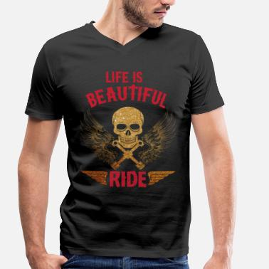 Motorcycles Mechanic Motorcycling Motorcycles Mechanic Skull - Men's Organic V-Neck T-Shirt by Stanley & Stella