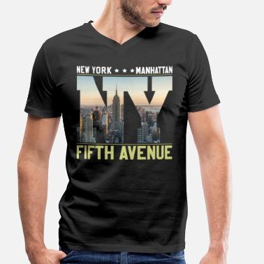 Avenue NEW YORK Skyline Fifth Avenue - T-shirt ecologica da uomo con scollo a V di Stanley & Stella