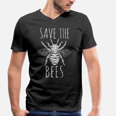 Pollinate Bees Rescue Extinction Beekeepers honey - Men's Organic V-Neck T-Shirt by Stanley & Stella