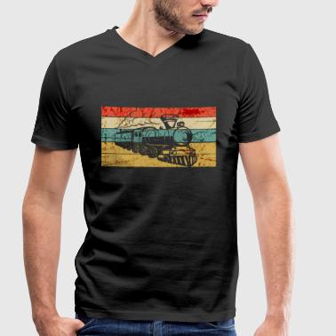 Railway Engineering Railway train steam locomotive model railway - Men's Organic V-Neck T-Shirt by Stanley & Stella
