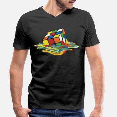 Rubik's Cube Melted Colourful Puddle - Mannen V-hals bio T-shirt
